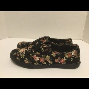 Vans Womens Floral Canvas Lace Up Sneakers Size 8